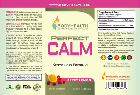 Perfect CALM Label - 16oz - Berry Lemon Flavor