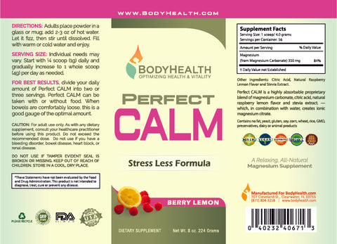 Perfect CALM Label - 8oz - Berry Lemon Flavor