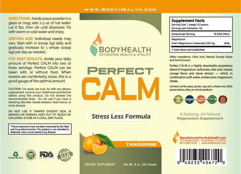 Perfect CALM Label - 8oz - Tangerine Flavor
