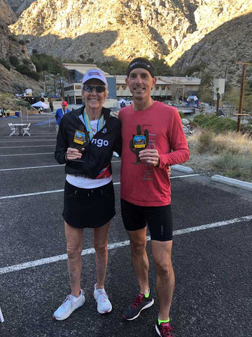 CJ Hitz and Cherie Gruenfeld at the 2019 Palm Springs Tram Road Challenge 6K