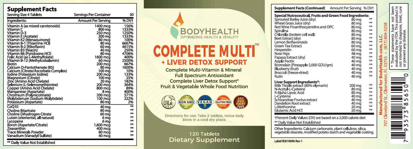 BodyHealth Complete Multi + Liver Detox Support Label and Supplement Facts