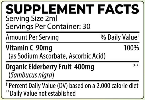BodyHealth Elderberry + Vitamin C Immune Support Drops Supplement Facts