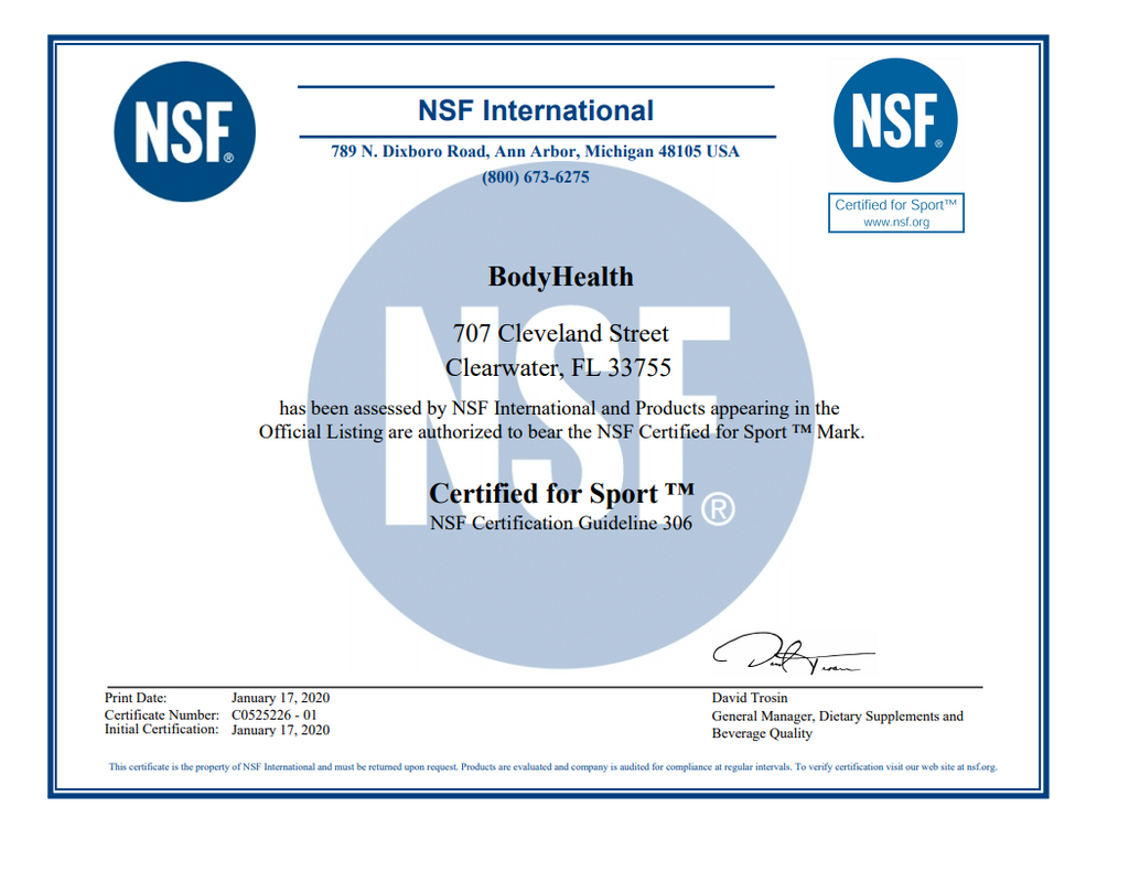 Our official NSF Certified for Sport BodyHealth PerfectAmino certification | Click to enlarge