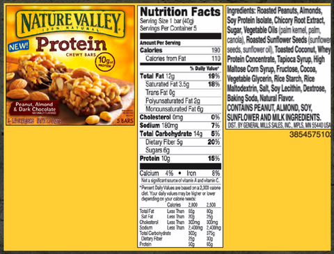 Nature Valley Chewy Protein Nutrition Supplements Facts - eight different sugars