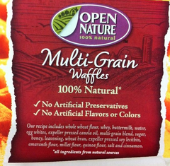 Open Nature Multi-Grain Waffle Packaging - SAPP - Safeway argument - sodium acid pyrophosphate