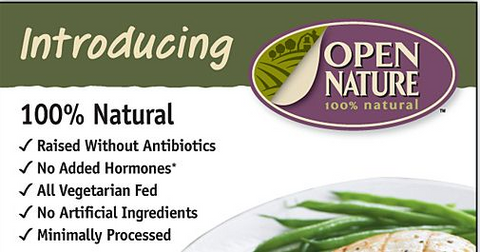 Open Nature Packaging showing 100% natural but is anything but natural - example of deceitful marketing