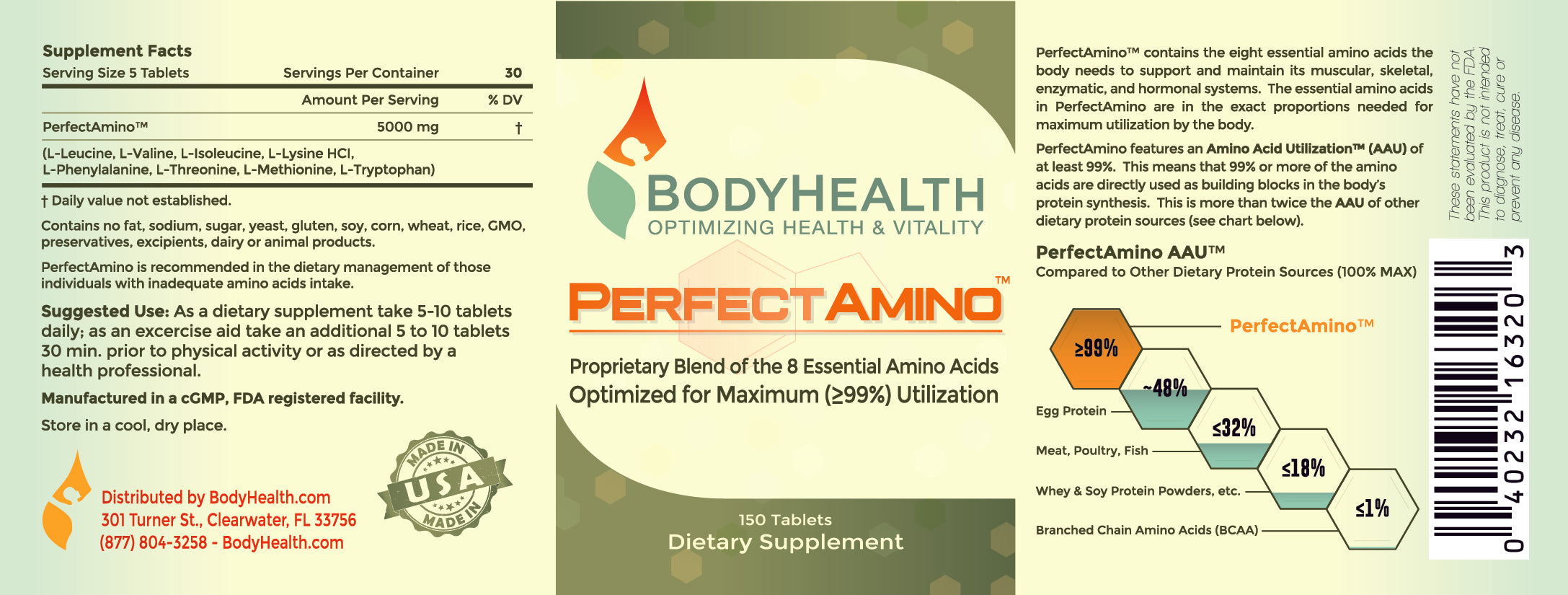 PerfectAmino - Perfect Amino - amino acid formula - Supplemental Facts - Ingredients Label