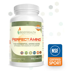BodyHealth PerfectAmino 300ct tablet bottles are officially NSF Certified for Sport!