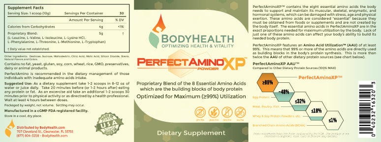 PerfectAminoXP - Perfect Amino - amino acid formula - Supplemental Facts - Ingredients Label