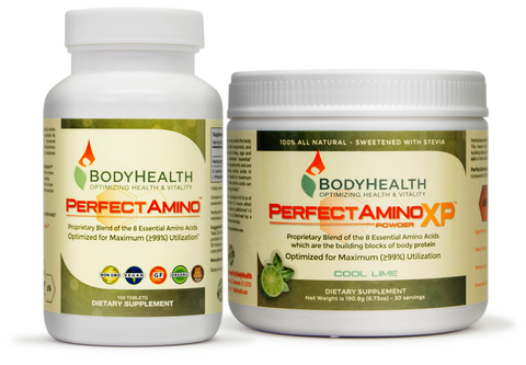 BodyHealth PerfectAmino and PerfectAminoXP tablets and powder the 8 essential amino acids for maximum 99% utilization by the body for building body protein