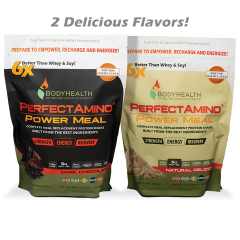 BodyHealth Power Meal shake, EAAs, MCT Oil, Carb10, vitamins and minerals, superfoods, 180 calories, sweetened with only Monk Fruit