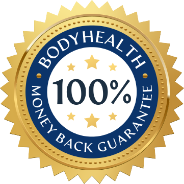 BodyHealth 100% Money Back Guarantee Blue and Gold Badge
