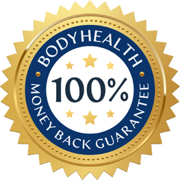 BodyHealth 100% Money Back Guarantee Blue and Gold Badge.