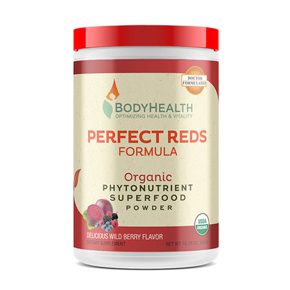BodyHealth Perfect Reds Organic Phytonutrient Superfood Powder Container