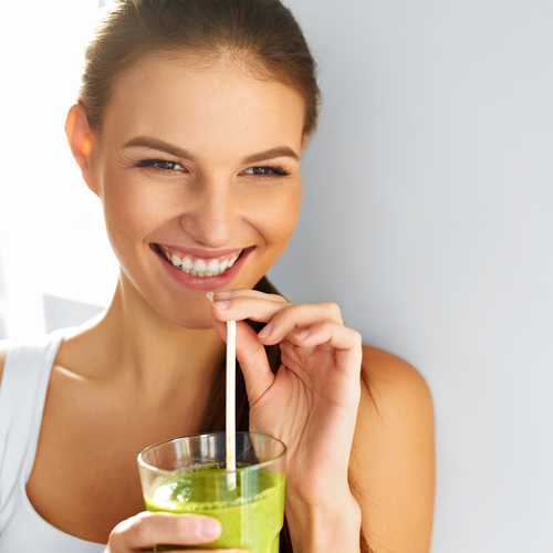 BodyHealth Woman Influencer Drinking Perfect Greens from the Superfood Multi Bundle