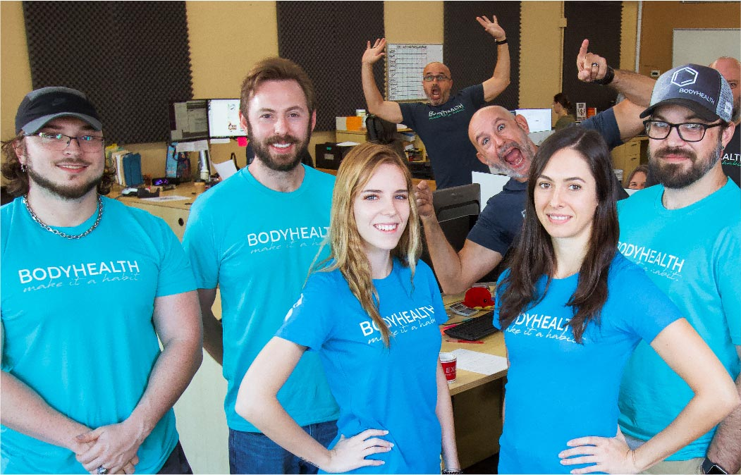 BodyHealth Marketing Team with funny staff members in the background