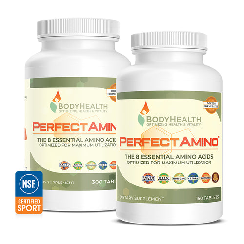 BodyHealth PerfectAmino Tablet 300 and 150 count bottles