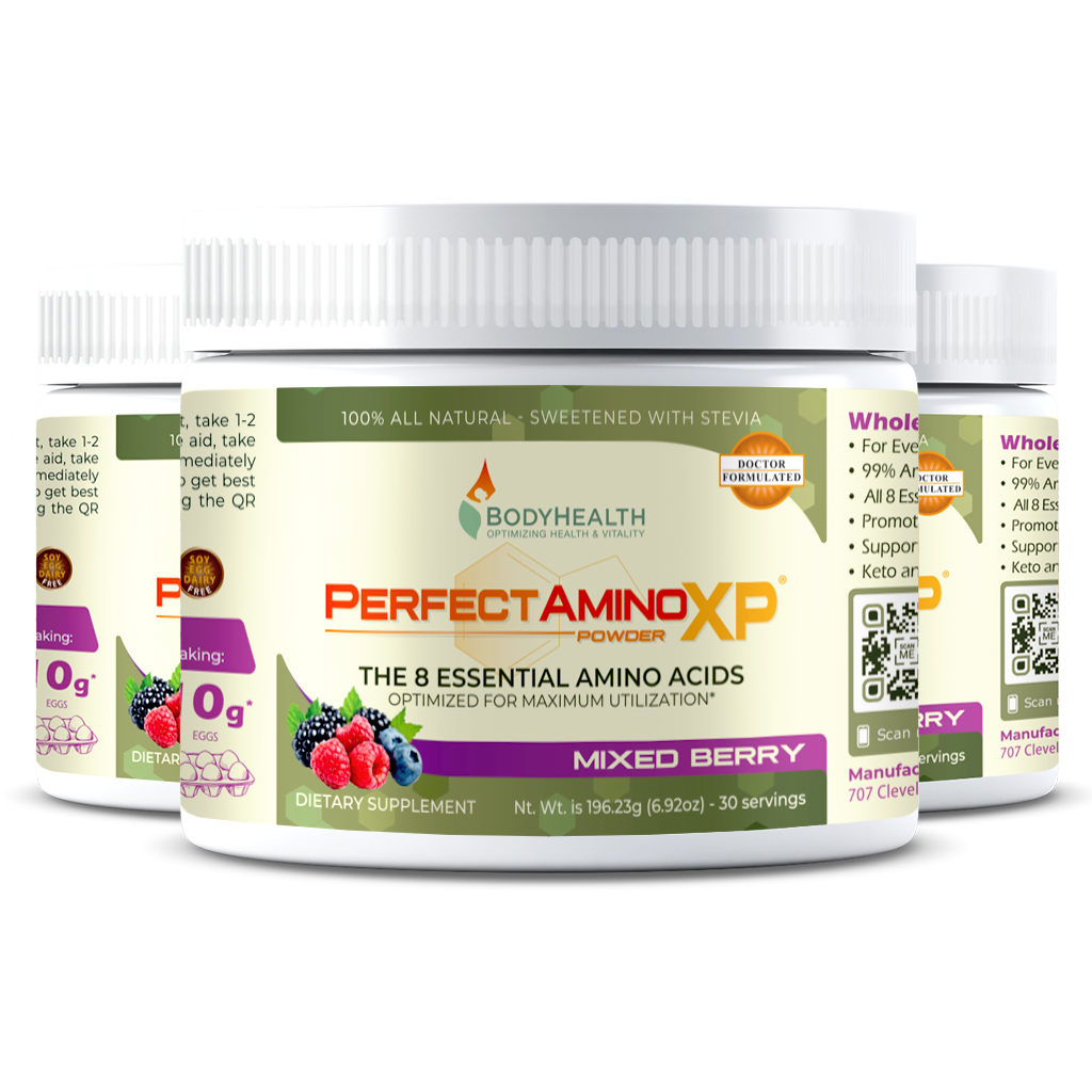 BodyHealth PerfectAminoXP Mixed Berry 30 servings pack of three bottles
