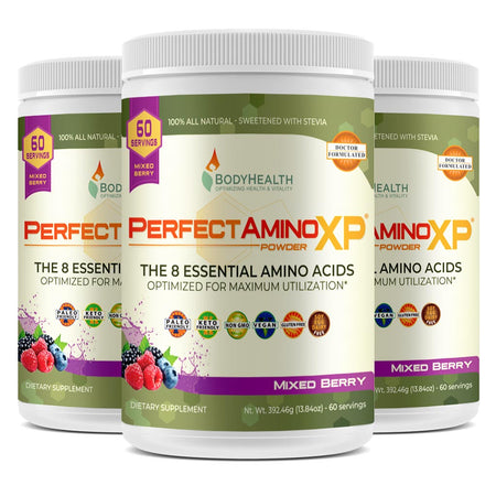 BodyHealth PerfectAminoXP Mixed Berry 60 servings pack of three bottles