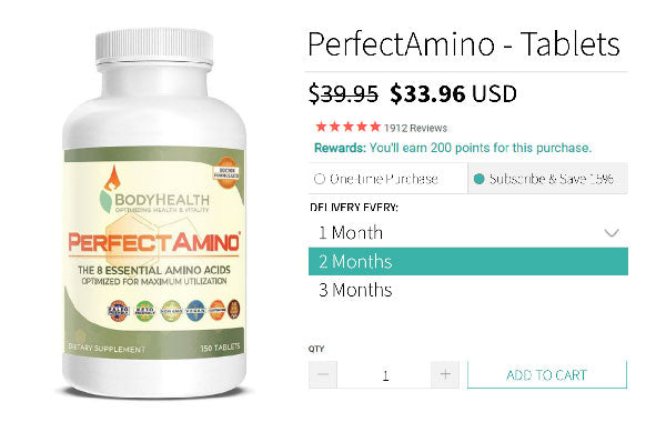 BodyHealth PerfectAmino 150 tablets checkout options for the subscription program
