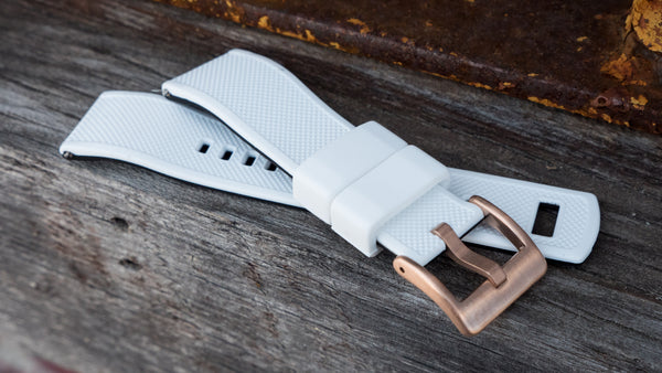 Rose Gold Buckle on White Elite Silicone
