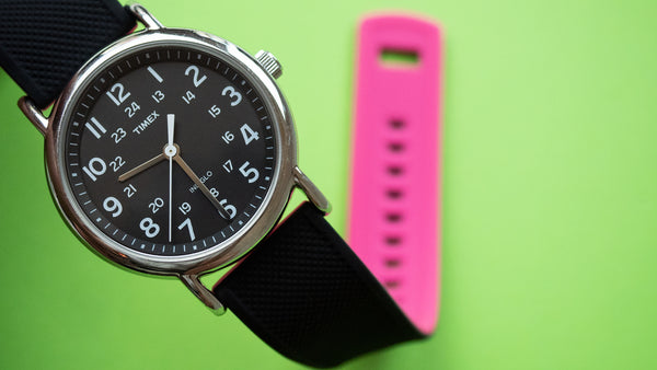 Timex on Black & Pink Elite Silicone quick-release strap