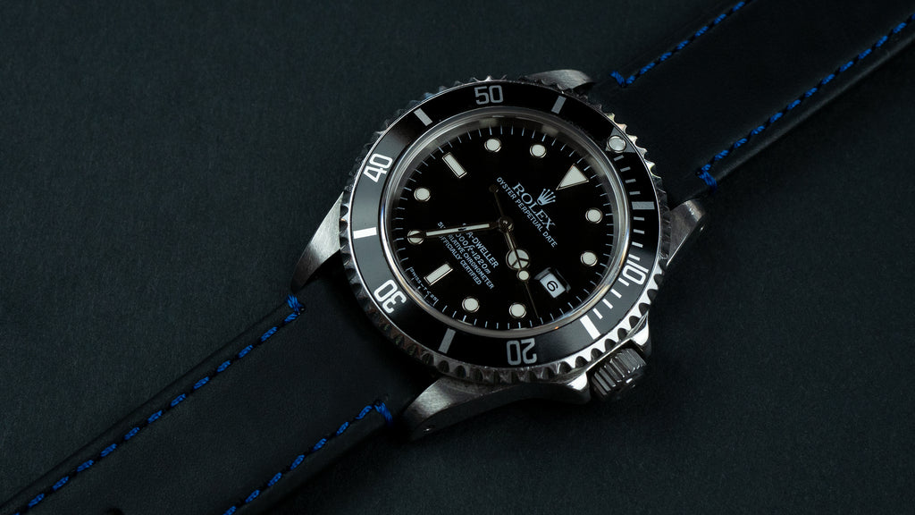 Rolex on Black Leather / Blue Stitching quick release strap