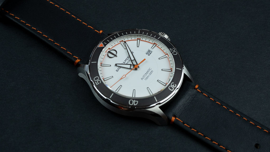 Black Leather / Orange Stitching Barton Watch Bands