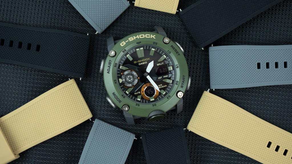 Barton Watch Bands Elite Silicone Khaki, Smoke, and Black with Casio G-Shock GA-2000