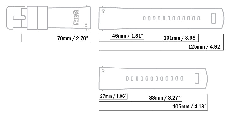 Barton Silicone length and dimension diagram