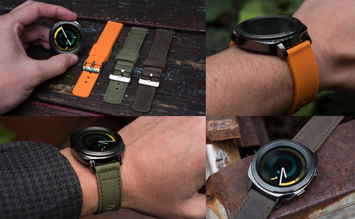 samsung gear sport  with barton quick release watch bands