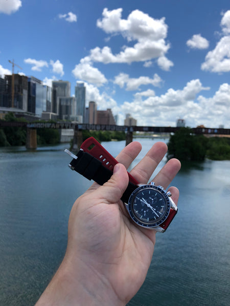Omega Speedmaster + 20mm Black & Crimson Elite Silicone Quick Release strap James D. Pfluger Pedestrian Bridge