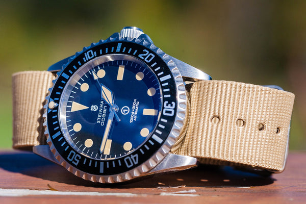 steinhart ocean on khaki tan nylon NATO strap