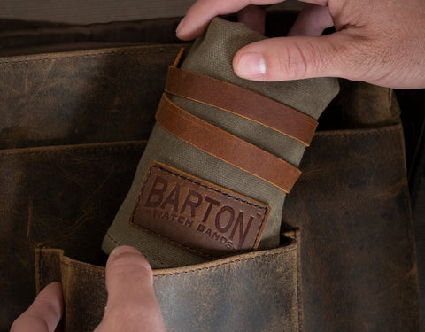 BARTON WATCH BANDS WAXED CANVAS WATCH ROLL
