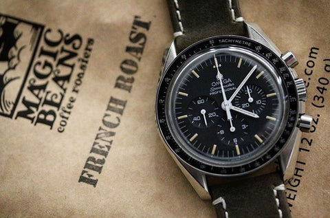 Omega Speedmaster + Espresso Leather Quick Release