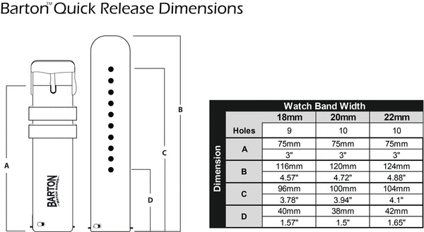 quick release watch band dimensions