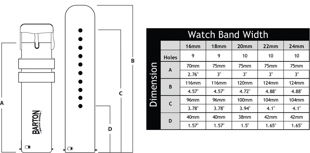 Barton quick release watch band length and dimensions 16mm, 18mm, 20mm, 22mm, 24mm