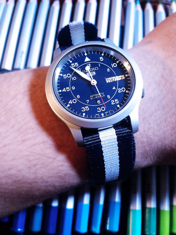 seiko 5 with blue and white nato 20mm