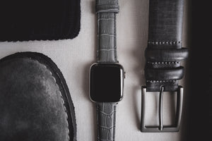 Apple Watch | Smoke Grey Alligator Grain Leather - Barton Watch Bands