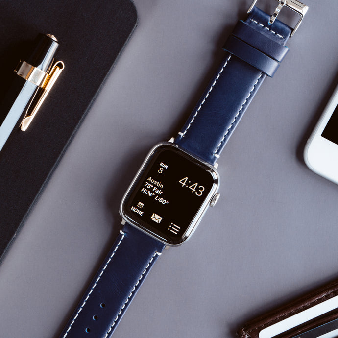Apple Watch | Navy Blue Leather & Linen White Stitching