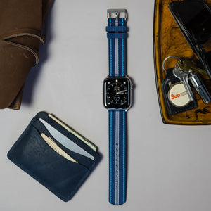 Apple Watch | Two-piece NATO Style | Navy & Aqua Blue - Barton Watch Bands