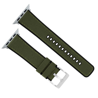 Load image into Gallery viewer, Apple Watch | Army Green Cordura® Fabric and Silicone Hybrid - Barton Watch Bands
