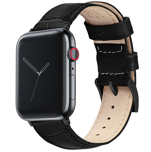 Apple Watch | Black Alligator Grain Leather