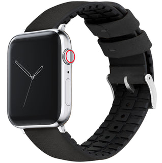 Load image into Gallery viewer, Apple Watch | Black Leather and Rubber Hybrid - Barton Watch Bands