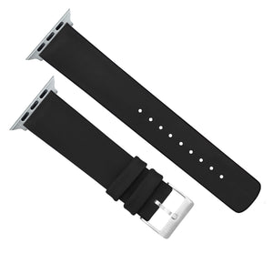 Apple Watch | Black Leather and Rubber Hybrid - Barton Watch Bands