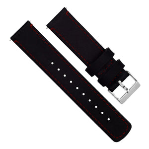 Samsung Galaxy Watch3 | Black Leather & Crimson Red Stitching - Barton Watch Bands