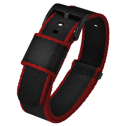 Black - Crimson Red Edges | Jetson NATO Style - Barton Watch Bands