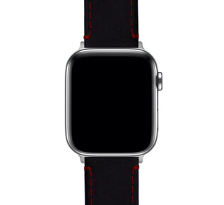 Load image into Gallery viewer, Apple Watch | Black Leather & Crimson Red Stitching