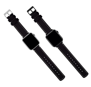 Load image into Gallery viewer, Apple Watch | Black Leather & Linen White Stitching