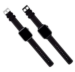 Apple Watch | Black Leather & Linen White Stitching